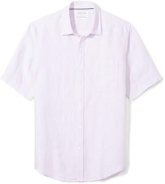 Amazon Essentials Regular-fit Short-sleeve Linen Shirt Button
