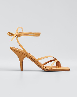 Emme Parsons Jamie Ankle-Tie Leather Thong Sandals