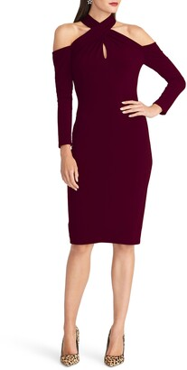 Rachel Roy Simone Long Sleeve Twist Neck Cold Shoulder Jersey Dress