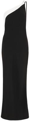 De La Vali Evita Monochrome One-shoulder Midi Dress