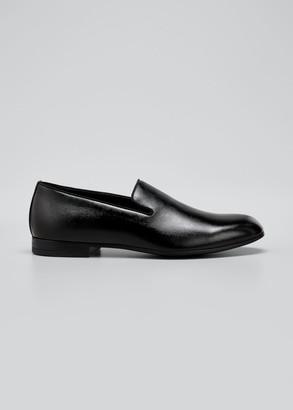 Giorgio Armani Men's Patent & Pebbled Leather Formal Slip-Ons