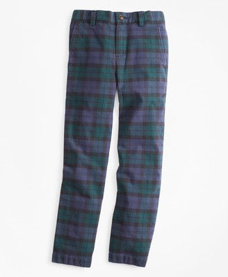 Brooks Brothers Boys Stretch Cotton-Blend Black Watch Pants