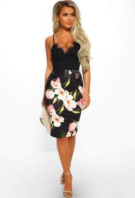 Pink Boutique Pure Perfection Black Floral Print Lace Bodycon Midi Dress
