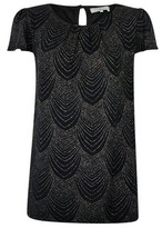 Dorothy Perkins Womens Billie & Blossom Tall Black Short Sleeve Deco Shell Top, Black