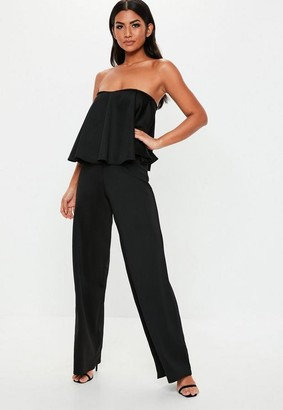 Missguided Tall Black Bandeau Frill Wide Leg Romper