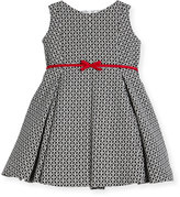 Helena Geometric Print Dress w/ Red Trim, Size 7-14