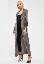 Missguided Tall Exclusive Grey Ruched Sleeve Satin Duster Coat