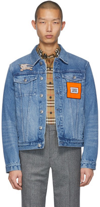 Burberry Blue Denim Graphic Casual Jacket