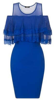 Dorothy Perkins Womens Girls On Film Cobalt Frill Bodycon Dress, Cobalt