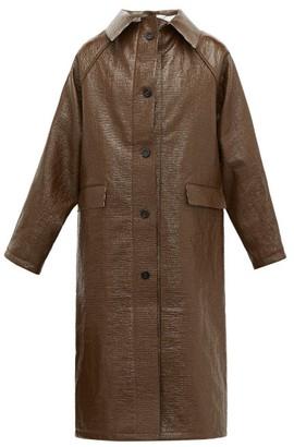 Kassl Editions Vinyl-coated Linen-blend Coat - Brown Multi
