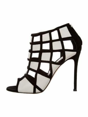 Gianvito Rossi Leather Colorblock Pattern Sandals White