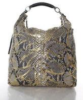 VBH Gray Gold Python Metallic Chains Detail Large Nomad Hobo Handbag