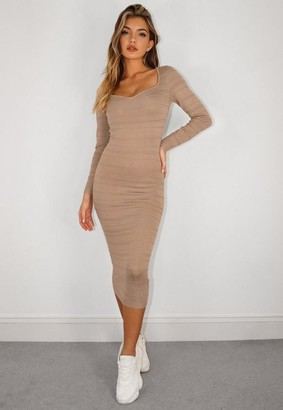 Missguided Stone Sweetheart Textured Knit Midaxi Dress
