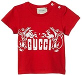 Gucci Kids Cotton Jersey w/ Print T-Shirt (Infant) (Vibrant Flame) Boy's Clothing