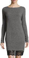 Neiman Marcus Cashmere Boat-Neck Lace-Hem Sweater Dress, Gray