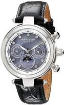 Akribos XXIV Women's Luxury Automatic Chronograph Diamond Watch with Black Leather Strap AKR441BK