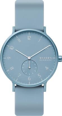 Skagen Men's Aaren Quartz Analog Stainless Steel and Silicone Watch