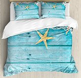 Starfish Decor Queen Size Duvet Cover Set by Ambesonne, Rustic Wood Boards Fishing Net and Ocean Animals Nautical Print, Decorative 3 Piece Bedding Set with 2 Pillow Shams, Turquoise White Orange