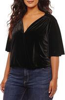 WORTHINGTON Worthington Short Sleeve Velvet Bodysuit-Plus