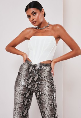 Missguided White Scuba Crepe Bandeau Corset Top