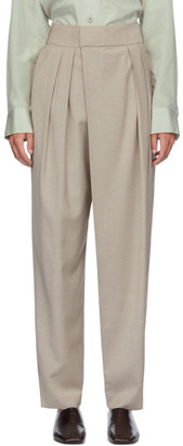 Low Classic Beige Wide Tuck Pants
