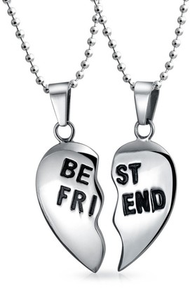 Bling Jewelry Break Apart 2PC Gift For BFF Best Friend Puzzle Heart Pendant Necklace For Women For Teen Silver Tone Stainless Steel