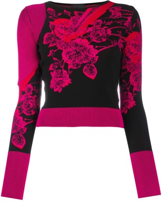 Just Cavalli Knitted Floral Pattern Long Sleeve Jumper
