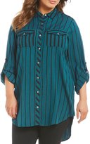 Intro Plus Roll-Tab Sleeve Button Front Stripe Tunic