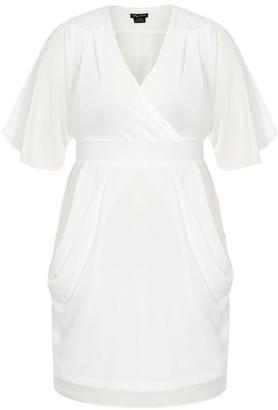 City Chic Sequin Wrap Dress - ivory