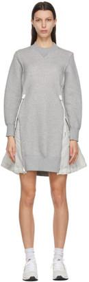 Sacai Grey and Off-White Sponge Sweat X MA-1 Dress
