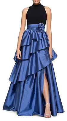Theia Tiered Asymmetrical Taffeta Ball Gown
