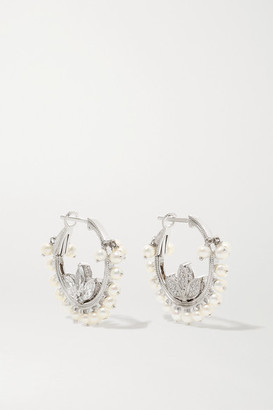 Maria Tash Lotus 16mm 18-karat White Gold, Diamond And Pearl Hoop Earrings - one size