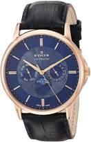 Edox Men's Les Bemonts 42mm Leather Band Swiss Quartz Watch 40002 37r Buir