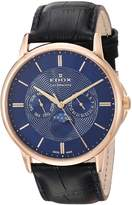 Edox Men's 'Les Bemonts' Swiss Quartz Stainless Steel and Leather Dress Watch, Color: (Model: 40002 37R BUIR)