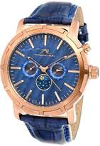 Porsamo Bleu Men's NYC Stainless Steel Rose-Tone Dial Moon Watch, 47mm