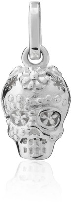 Exquisitely Detailed Sugar Skull Charm Handmade In Sterling Silver