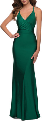 La Femme Fitted Jersey Halter Gown