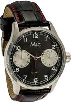 MC M&c Ferretti Men's | Silver Croc Leather Chronograph Dial Watch | FT14701