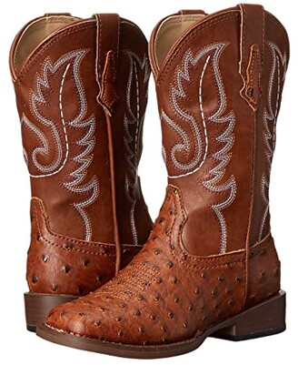 Roper Faux-Leather Ostrich Print (Toddler/Little Kid) (Tan) Cowboy Boots