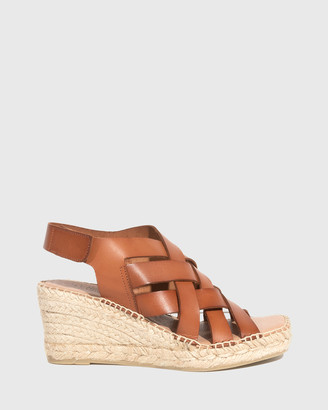 Wittner - Women's Brown Sandals - Utari Leather Woven Strap Espadrille Wedges - Size One Size, 38 at The Iconic