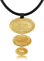 Stefano Patriarchi Golden Silver Etched Triple Oval Pendant w/Leather Lace