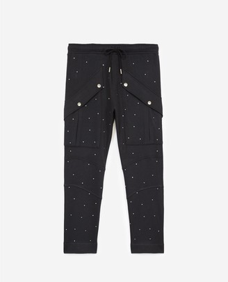 The Kooples Black joggers with side pockets & rhinestones