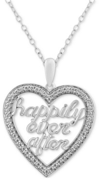 """Enchanted Disney Fine Jewelry Diamond Happily Ever After Heart Necklace (1/5 ct. t.w.) in Sterling Silver, 17"""" + 2"""" extender"""