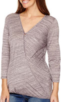 Asstd National Brand Maternity 3/4-Sleeve Faux-Wrap Blouse - Plus