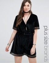 Alice & You Velvet Romper With Lace Trim