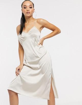 NA-KD satin slip dress in cream