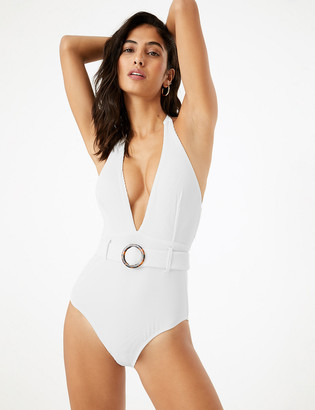 Marks and Spencer Tummy Control Ribbed Belted Plunge Swimsuit