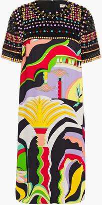 Emilio Pucci Embellished Tulle-paneled Printed Crinkled-crepe Dress