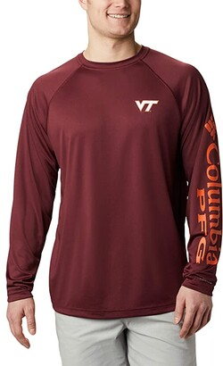 Columbia College Virginia Tech Hokies Terminal Tackle Long Sleeve Shirt (Deep Maroon/Tangy Orange) Men's Clothing