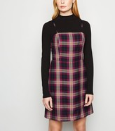 New Look Burgundy Check Strappy Pinafore Dress